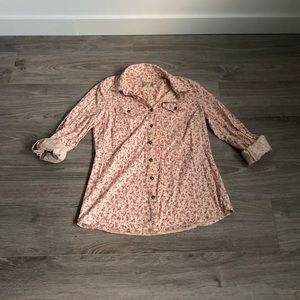 Women's Pink Floral Button Down Shirt Small
